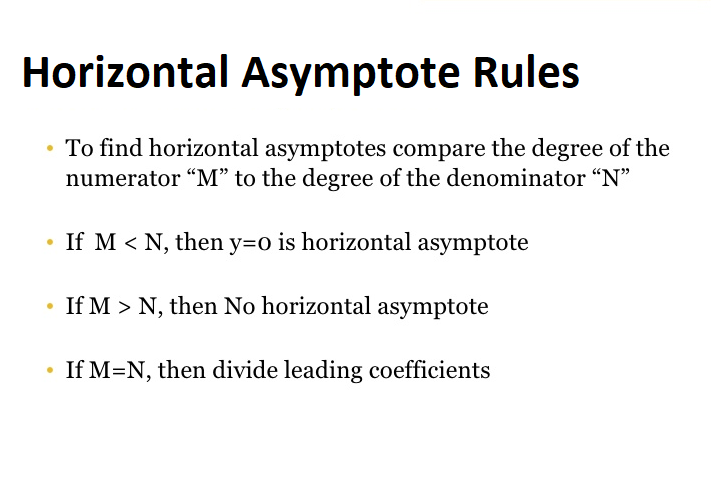 Horizontal Asymptotes Rules