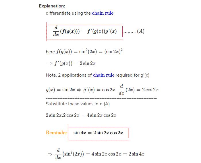 Derivative of sin^2(2x)
