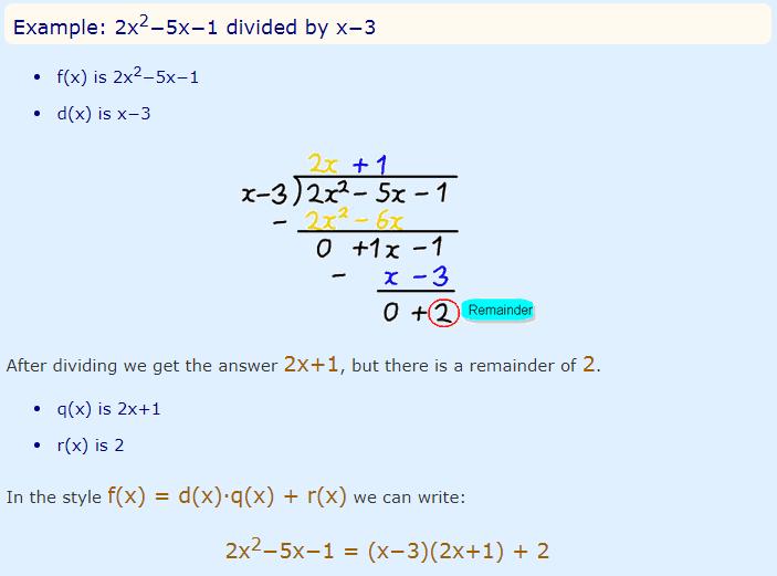 polynomial remainder theorem