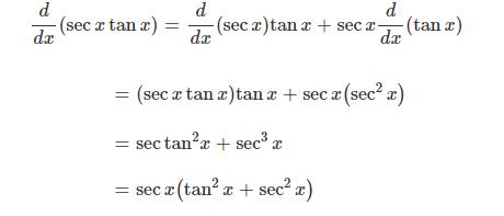 derivative of secx tanx