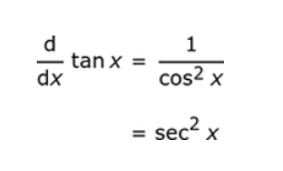 The derivative of tan x