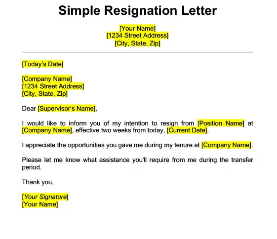 2 Weeks Notice Template