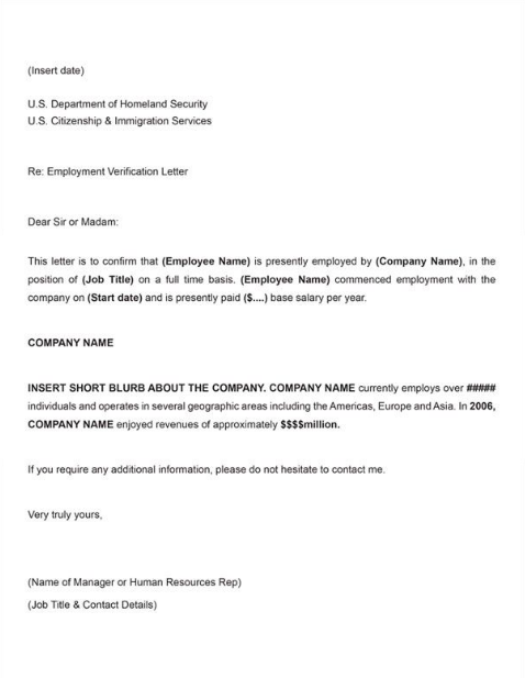proof employment verification letter template word