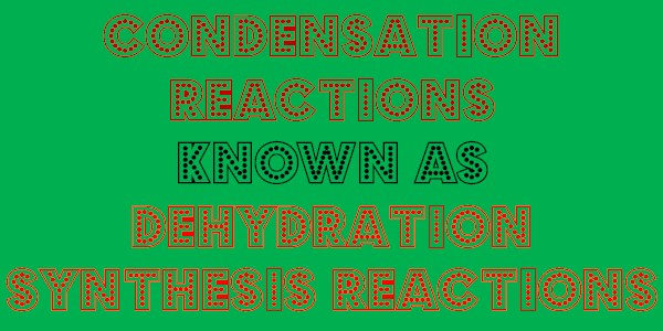Condensation Reactions or Dehydration Synthesis Reactions